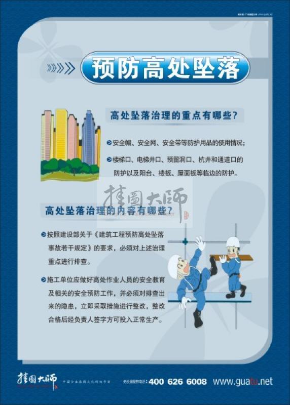建筑施工地 安全预防高处坠落 安全管理标语 安全管理标语 工