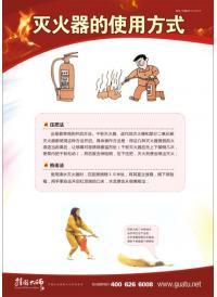 消防常识挂图 灭火器的使用方式