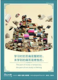 学校图书馆标语 学习时的苦痛是暂时的,未学到的痛苦是终生的