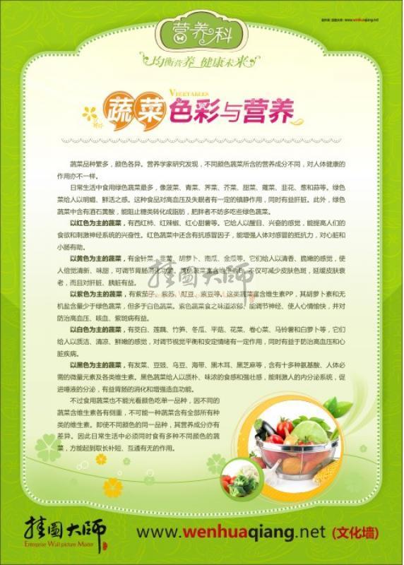 医院健康教育宣传知识 蔬菜色彩与营养 营养科 高清图片
