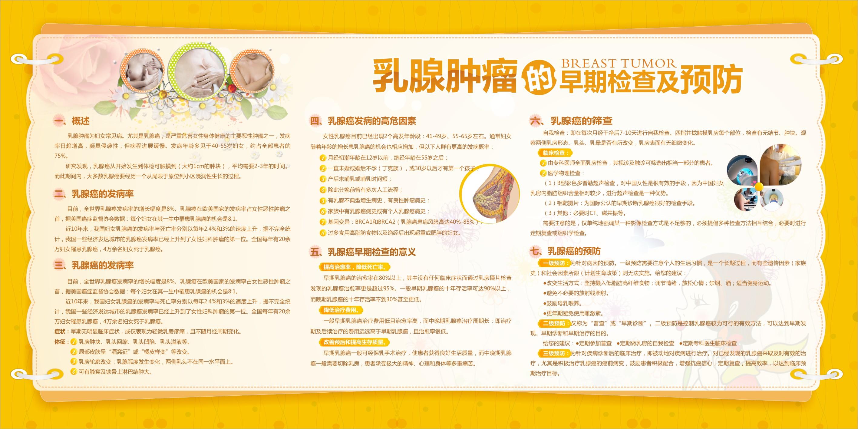 妇科病预防知识 乳腺肿瘤的早期检查及预防 健康教育宣传栏 医院形